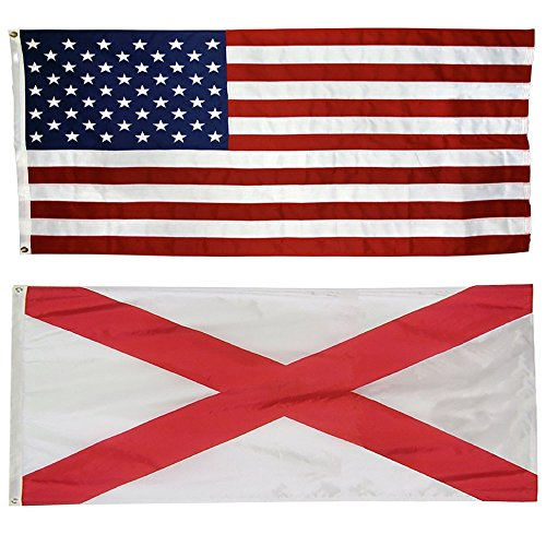 US Flag with Alabama State Flag - 100% American Made - Nylon