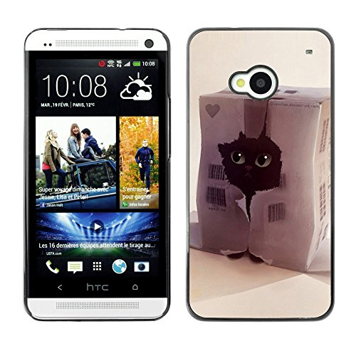Soft Silicone Rubber Case Hard Cover Protective Accessory Compatible with HTC ONE M7 2013 - Funny Cute Cat