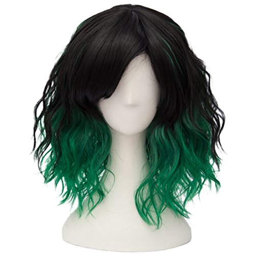 Alacos Fashion 35cm Short Curly Bob Anime Cosplay Wig Daily Party Christmas Halloween Synthetic Heat Resistant Wig for Women +Free Wig Cap (Black Green Ombre)