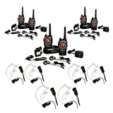 Midland 36-Mile 50-Channel FRS/GMRS Two-Way Radio 3-Pair Bundle with 3 Midland Transparent Security Headsets with PTT/VOX
