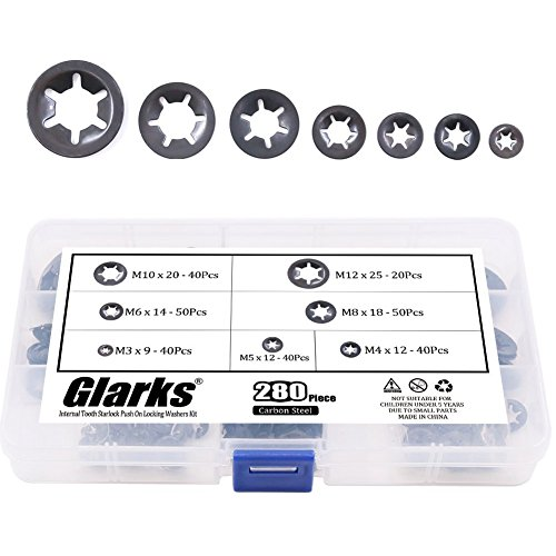 Glarks 280Pcs Internal Tooth Starlock Push On Locking Washers Speed Clips Fasteners Assortment Kit (Lock Fastener Push)