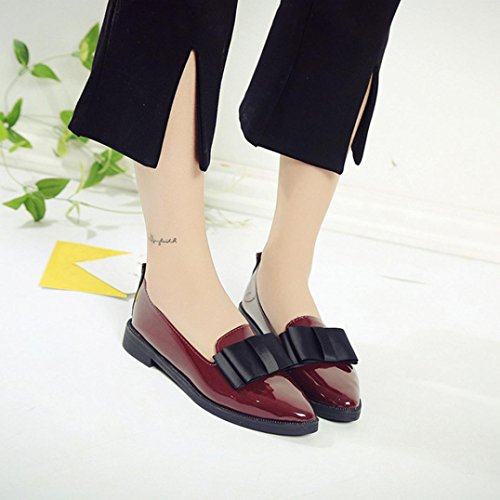 OverDose à Style Chaussures Femme Avec Bout Cuir Ballerines Nœud Pointu Rouge Larges Mocassins Plates WIaWr