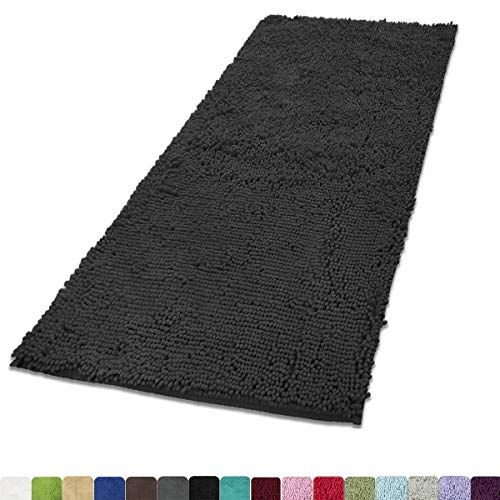 MAYSHINE Absorbent Microfiber Chenille Door mat Bathroom Rugs Runner for Front Inside Floor Doormats, Quick Drying, Washable-31x59 inch Dark Gray (Doormats Long)