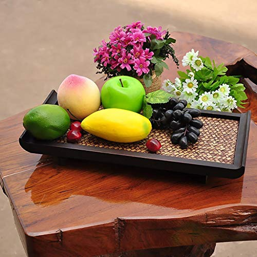 New Vintage Bamboo Home Food Tea Serving Dinner Fruit Unique Trays Rectangular L -