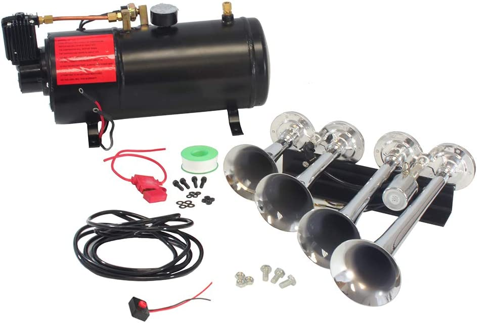 Hex Autoparts Quad 4 Trumpet 150DB Loud Train Air Horn Kit with 6 liters Compressor 150PSI 12V for Car Truck Boat