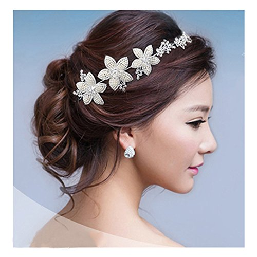 Price comparison product image KAKA(TM) Bridal Wedding Pearl Headdress Flower Hair Accessories Bling Rhinestone Handmade Headwear