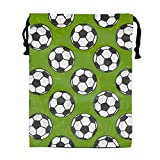 Party Favors Supplies Bags for Girls, 1 Pack Kids Drawstring Backpack with Soccer Pattern