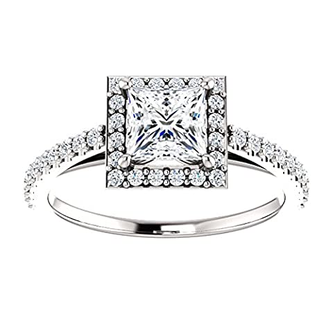 Dainty Princess Cut Halo Engagement Ring 14k White Gold 3/4ct. TDW - Cut Halo Petite Diamond