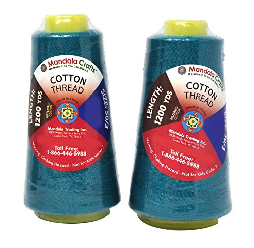Mandala Crafts Quilting Cotton Thread Cone for Machine and Hand Sewing, 100 Percent Natural Mercerized, 50 wt (2 Rolls 2400 Yards, Teal)