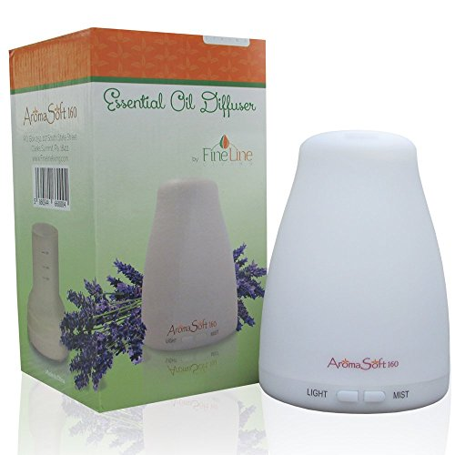 160ml Ultrasonic Aromatherapy Essential Oil Diffuser - Easy to Use - Cool Mist Aroma Humidifier - Safe for All Oils - 7 Color LEDs - Automatic Shut Off - 2 Mist Modes - Great for Men, Women & Kids! by Fine Line Living