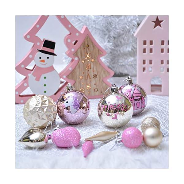 Valery Madelyn Palle di Natale 70 Pezzi di Palline di Natale, 3-10 cm Ricoperte di Zucchero Rosa e Oro Infrangibile Ornamenti di Palla di Natale Decorazione per la Decorazione Dell'Albero di Natale 7 spesavip