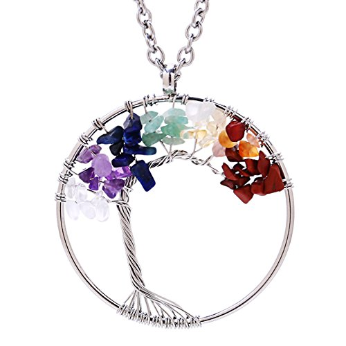 - Eamaott Tree of life pendant Amethyst Rose Crystal Necklace Gemstone Chakra Jewelry Mothers Day Gifts