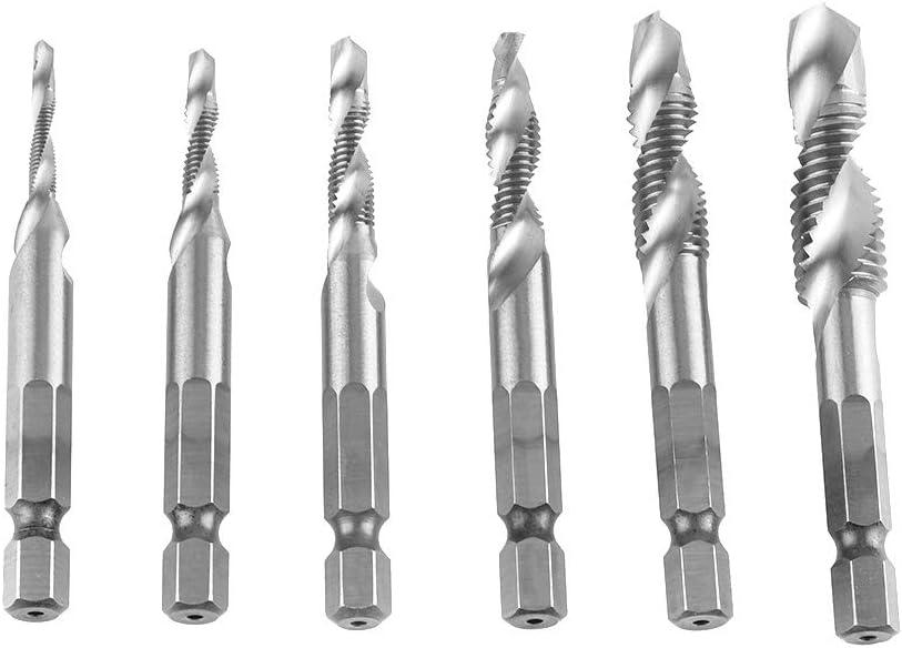 TOPINCN Spiral Flute Taps Screw Tap Drill Bits Spiral Flute Metric Taps Set High Speed Steel Hex Shank Combination 6pcs M3-M10 HSS4341