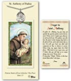 Pewter St. Saint Anthony of Padua Medal Pendant Necklace on an 24in Stainless Silver Heavy Curb Chain with a Prayer to St Anthony Prayer Card