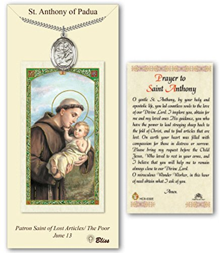 """Pewter Saint Anthony of Padua Medal Pendant Necklace   24"""" Stainless Silver Heavy Curb Chain   Comes With a """"Prayer to St Anthony"""" Prayer Card   First Communion or Confirmation Gift"""