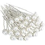 H&S 40 Wedding Pearl Hair Pins Bridal Flower Crystal Hair Pins Clips for Women