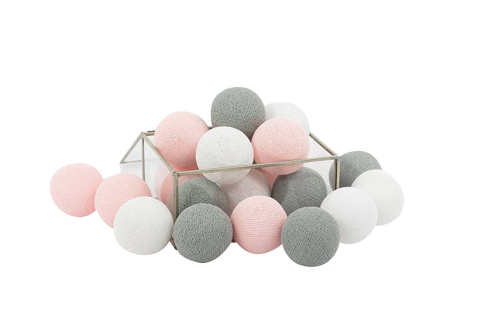 CHAINUPON 20 Cotton Ball String Fairy Night Lights Kid Children Bedroom,Home,Decor,Boys Girls Plug in Mains powered (20 Lights, Gray Pink)