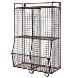 Wall Mounted/Collapsible Brown Metal Wire Mesh Storage Basket Shelf Organizer Rack w/ 2 Hanging Hooks