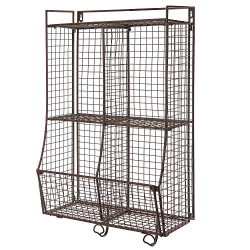 Wall Mounted/Collapsible Brown Metal Wire Mesh Storage Basket Shelf Organizer Rack w/ 2 Hanging Hooks by MyGift