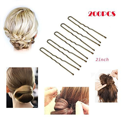Doubtless Bay Professional Golden Bobby Pins U Shape Hair Pins For Women Girls And Hairdressing, 200 Piece