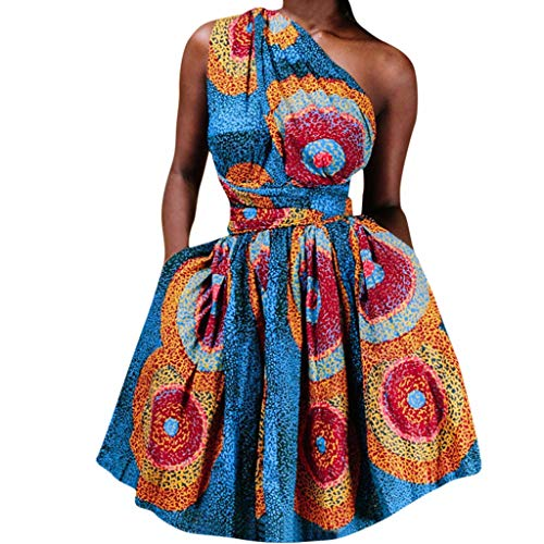 - Witspace Women Summer African Printed Elegant Party Sleeveless Wear More Straps Dress