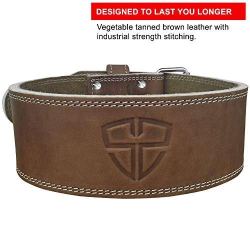 Steel Sweat Weight Lifting Belt - 4 Inches Wide by 10mm - Single Prong Powerlifting Belt That's Heavy Duty - Vegetable Tanned Leather - Hyde XXL by Steel Sweat (Image #1)