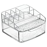 InterDesign Rain Cosmetic Organizer for Vanity Cabinet to Hold Makeup, Beauty Products - 1 Drawer, Clear
