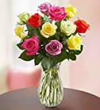 One Dozen Assorted Roses with Clear Vase by 1-800 Flowers