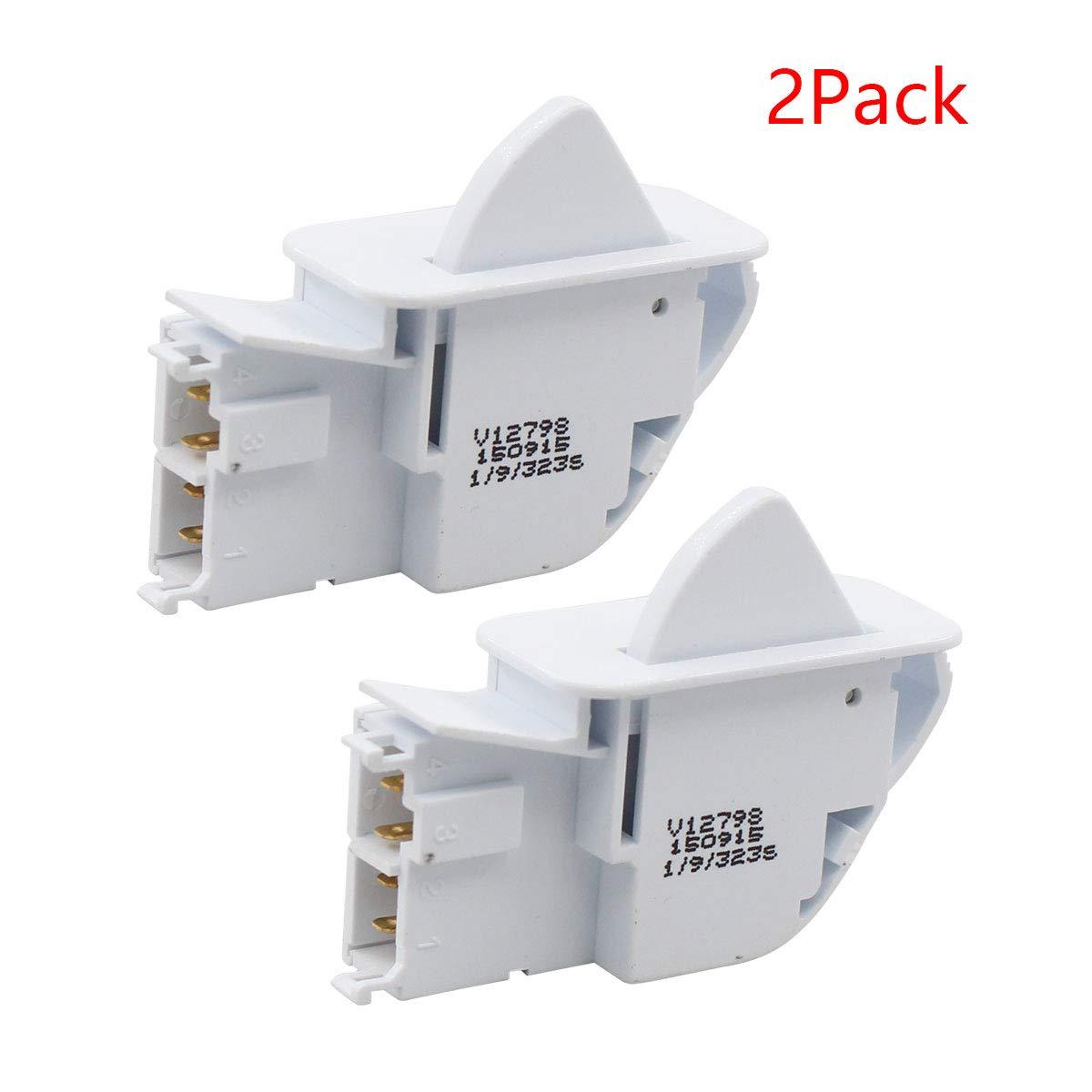 ApplianPar 2 Pack 6600JB1010A Refrigerator Door Push Button Switch for LG Kenmore Refrigerators AP4442090 6600JB1010K 1268243 6600JB1004A