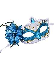 PUYEI Halloween mask färgmask halvansikte målad mask maskerad performance mask dekoration mask för fest bal bal mardi gräs bröllopsdekoration