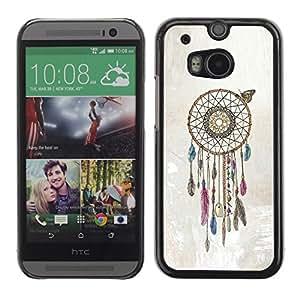 TopCaseStore / la caja del caucho duro de la cubierta de protección de la piel - Catcher Beige American Art Native - HTC One M8