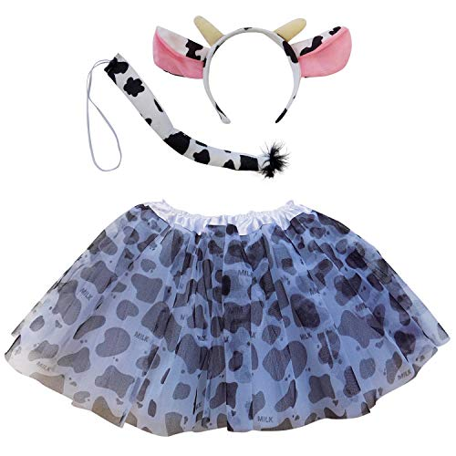 So Sydney Kids Teen Adult Plus 2-3 Pc Tutu Skirt, Ears, Tail Headband Costume Halloween Outfit (M (Kid Size), Cow Black & White)]()