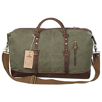 S-ZONE Oversized Canvas Leather Trim Travel Tote Duffel shoulder handbag Weekend Bag