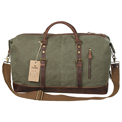 S-ZONE Oversized Canvas Leather Trim Travel Tote Duffel shoulder handbag Weekend Bag (Upgraded Version) ...