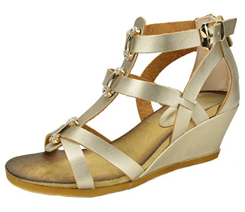 DREAM PAIRS MULAN Womens Gladiator Adjustable Buckles Straps Low Wedge Back Zipper Summer Sandals LIGHT GOLD SIZE 6.5