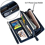 UTO Women PU Leather Wristlet Wallet Large Capacity 5.5'' Zipper Phone Case Card Holder Organizer Purse Blue