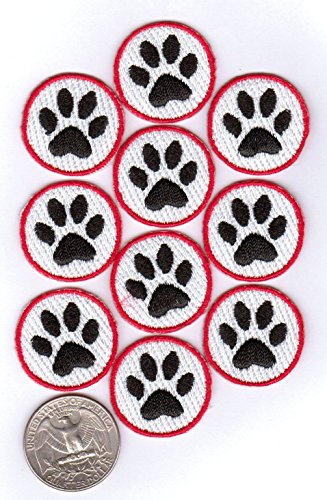 20 Pawprint Patches - 2 x 10-Packs 100% Embroidered Iron-On Backing