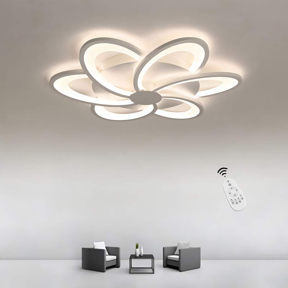Plafoniera Moderna creativa lampada da soffitto LED Soggiorno Camera da letto Luci da soffitto minimalista ultrasottile Lampadario Sala da pranzo Lampade Fiore bianca fredda 6000k, /Ø80cm