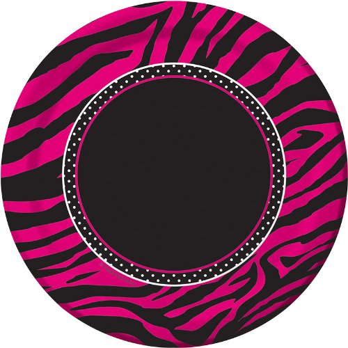 8-Count Round Paper Dessert Plates, Pink Zebra Boutique