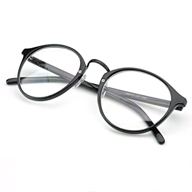 pensee vintage inspired eyeglasses frame round circle clear lens glasses black