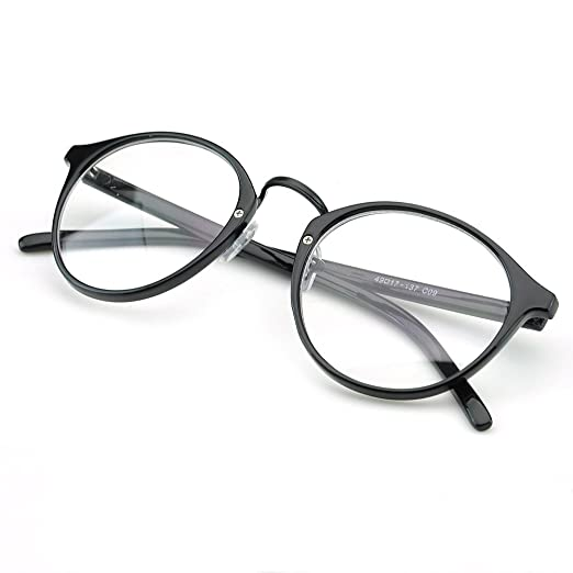 5381d7c89e1 PenSee Vintage Inspired Eyeglasses Frame Round Circle Clear Lens Glasses  (Black)