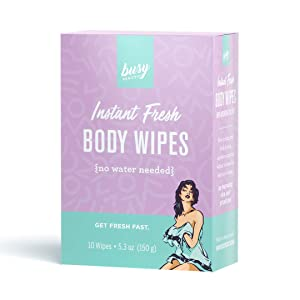 Busy Beauty - Lavender Refreshing Body Wipes | Plant-Based, Aluminum-Free, Natural Deodorant | All Skin Types | Gym and Travel Wipes for Easy Cleansing | Vegan | Cruelty-Free | Paraben-Free | 10-Pack