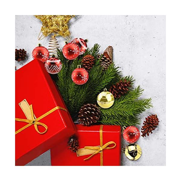 Jinlaili 6CM Palle di Natale Ornamenti, 12PCS Pallina Verniciata Palline di Natale Decorazione per Albero di Natale, Albero di Natale Palla Decorazioni per Alberi di Natale Addobbi Palle (Oro Rosso) 6 spesavip