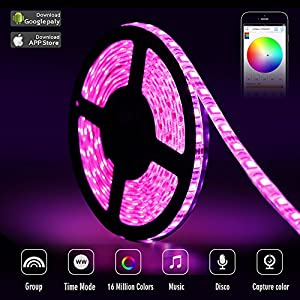 sanwo LED light Strip Kit, 32.8Ft RGB 600 Leds Waterproof App Strip Lights with 24V Power Supply, Bluetooth Controller and Rope Light Fixing Clips, Supply for Indoor/Outdoor, IOS and Android