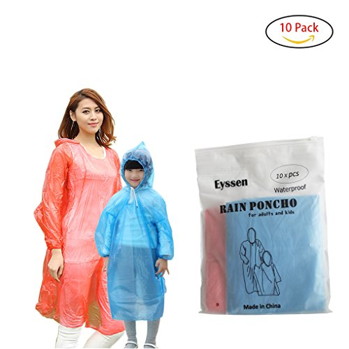Disposable Rain Poncho, 100% Waterproof with Drawstring Hood and Elastic Sleeve, Assorted Colors, Set of 10 Pack for Adults, Kids (family)