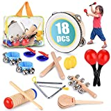 Toddler Educational & Musical Percussion for Kids & Children Instruments Set 18 Pcs - with Tambourine, Maracas, Castanets & More - Promote Fine Motor Skills, Enhance Hand to Eye Coordination,