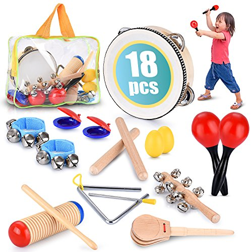 Toddler Educational & Musical Percussion for Kids & Children Instruments Set 18 Pcs - With Tambourine, Maracas, Castanets & More - Promote Fine Motor Skills, Enhance Hand To Eye (Best Musical Instruments For Kids)