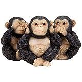 Bits and Pieces - Three Little Monkeys Statue - Speak No, See No, Hear No Evil Monkey Figurines - Set of Three (3)
