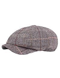Brcus Men Women Newsboy Cabbie Peaked Beret Cap Plaid Herringbone Baker Boy Hat