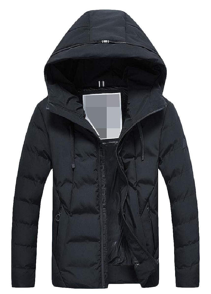 Zimaes-Men Solid Leisure Zips Warm Hood Plus Size Pocket Down Outwear
